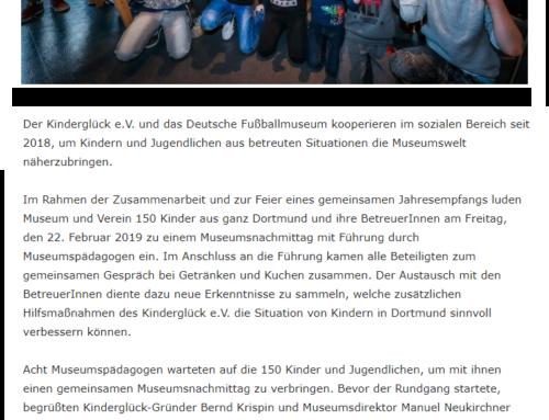 Kinderglück e.V. und Deutsches Fußballmuseum luden 150 Kinder ins Fußballmuseum ein